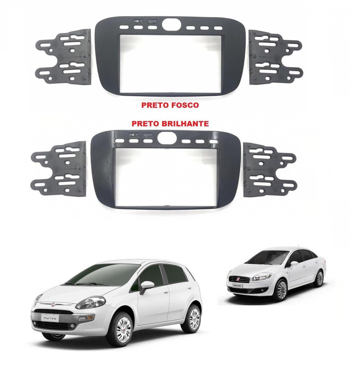 Moldura 2 DIN Fiamon Para Fiat Punto 2013 à 2017 e Linea 2015 à 2016 - Padrão Japonês