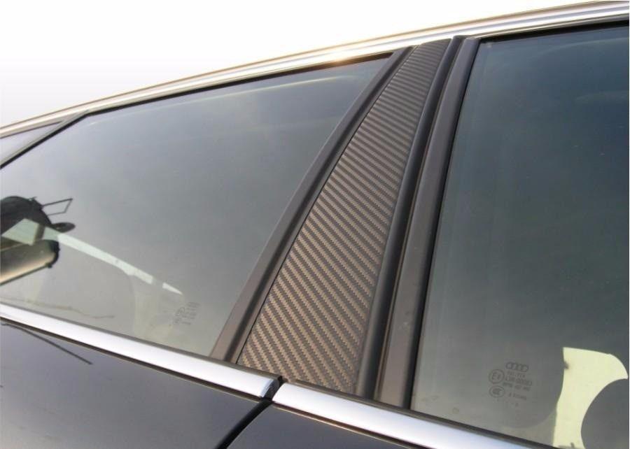 Adesivo de Coluna da Porta Blackout Carro 4 Portas - 4 Peças de 55 cm X 12 cm - Fibra de Carbono