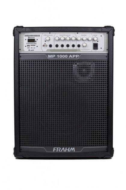 Caixa de Som Amplificada Frahm MP1000 App 150W RMS Bt Mic Instrumentos USB FM SD AUX RCA