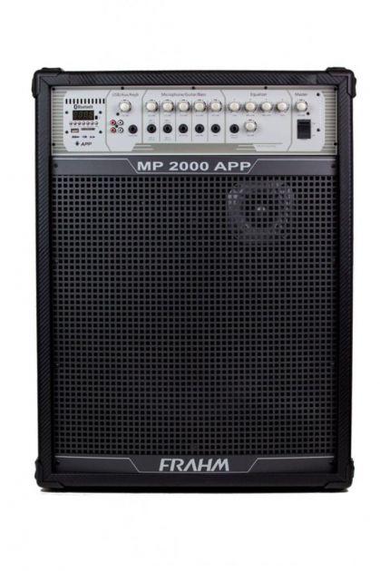 Caixa de Som Amplificada Frahm MP2000 App 200W RMS Bt Mic Instrumentos USB FM SD AUX RCA