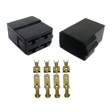Conector 4 Vias Com Trava - 10 Kits Com Luvas e Terminais ( Technoise )