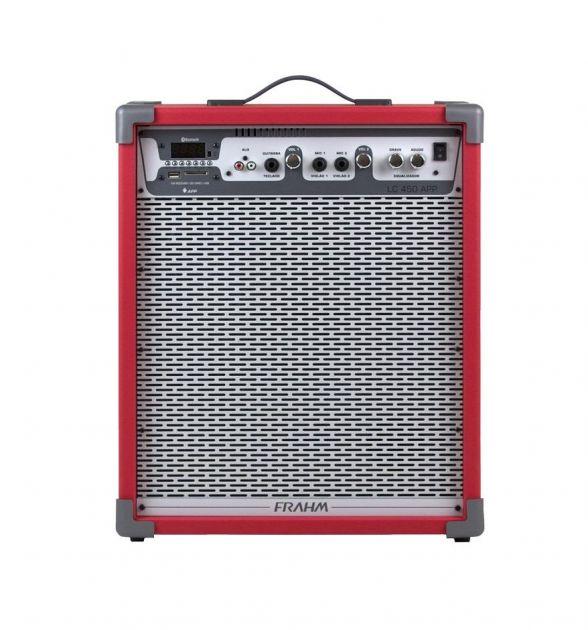 Caixa de Som Amplificada Frahm LC450 App Usb Fm Sd Card Auxiliar Mic Instrumentos - Vermelha, Azul
