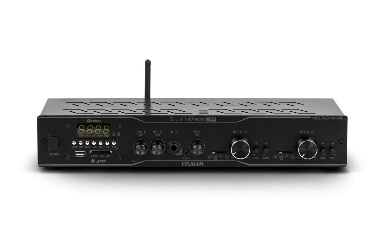 Amplificador Receiver Frahm Slim 2500 APP Multi-Channel 160 Watts RMS (2 x 80 W RMS)