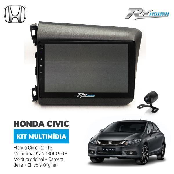 Kit Multimídia - Civic 12/16 9pol  Android+moldura+câmera Ré