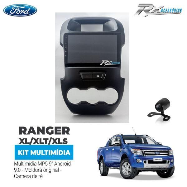 Kit Multimídia Ford Ranger 12/15  9 polegadas Android + moldura + câmera de ré