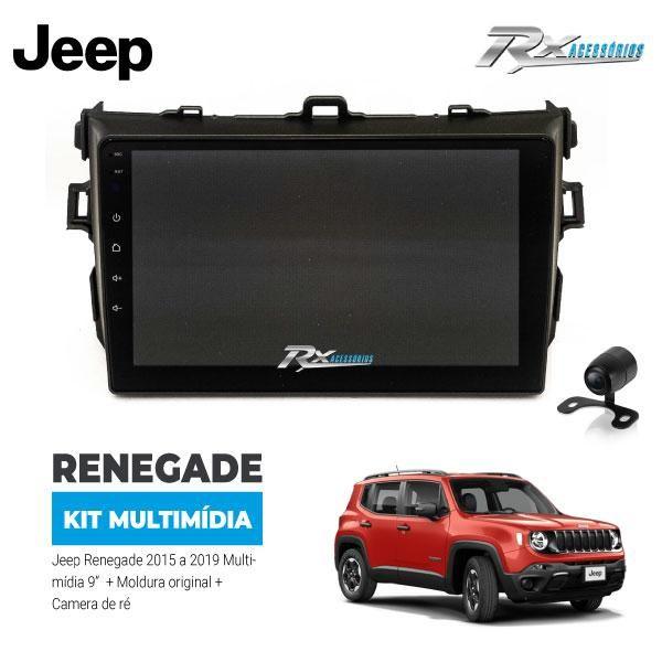Kit Multimídia Jeep Renegade 15/19 - 9 Pol. Moldura + câmera de ré