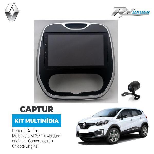 Kit Multimídia Renault Captur 9 Pol. + Moldura + Cam De Ré