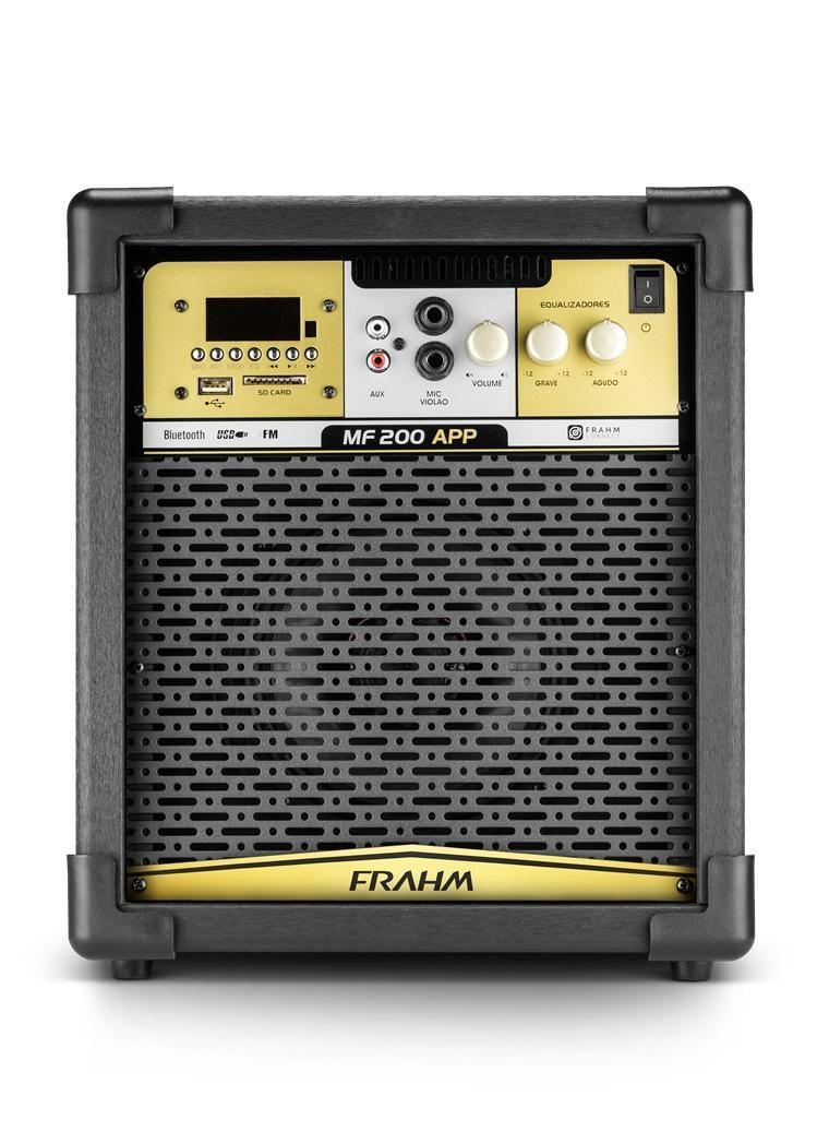 Caixa de Som Amplificada Frahm MF 200 App 80W RMS Bluetooth Usb SD FM