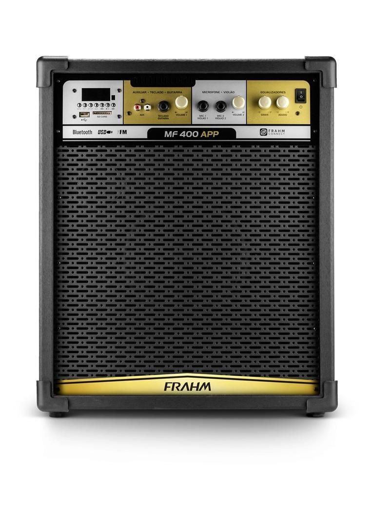 Caixa de Som Amplificada Frahm MF 400 App 100W RMS Bluetooth Usb SD FM