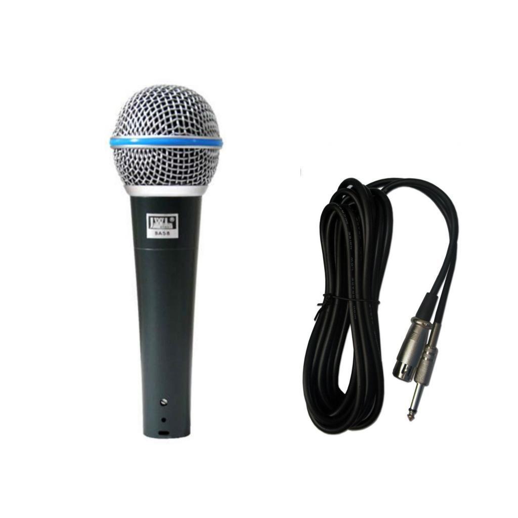Microfone Com Fio JWL BA-58 Uso Profissional Com Cabo 5 Metros