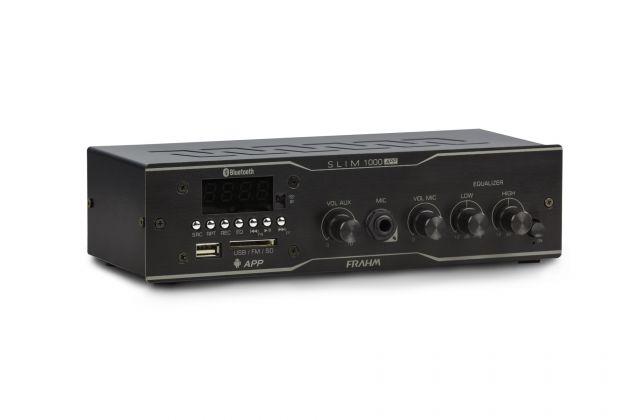 Amplificador Receiver Frahm Slim 1000 APP - BT, USB, SD Card, Auxiliar RCA, FM - Para Até 12 Caixas