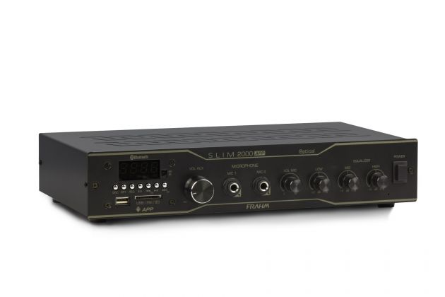 Amplificador Receiver Frahm Slim 2000 APP Optical - BT, USB, SD Card Aux., FM - Para Até 20 Caixas