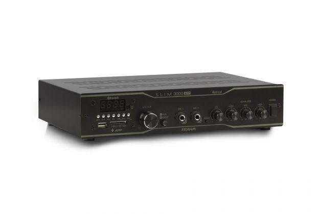Amplificador Receiver Frahm Slim 3000 APP Optical - Bluetooth USB SD FM - Até 40 Caixas