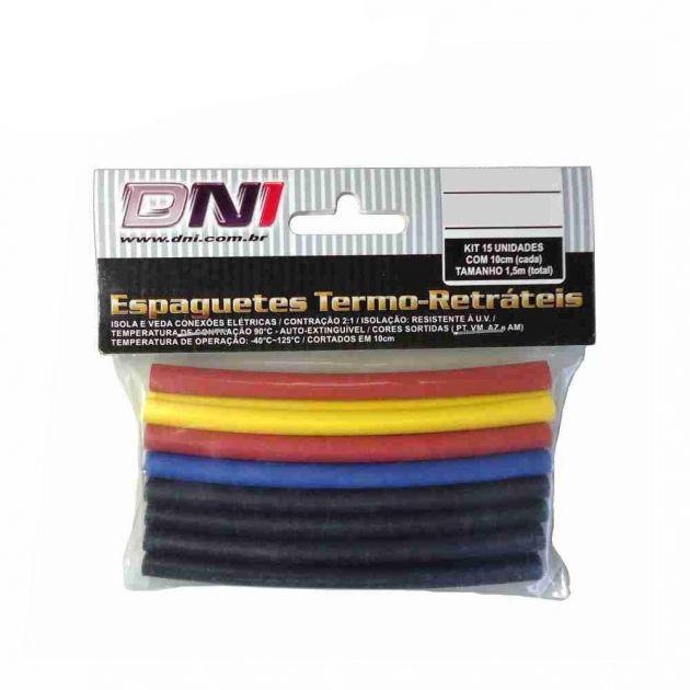 Espaguete Termo Retrátil 10 mm DNI 5110 - Pacote Com 10 Un. de 10 cm cada (1,0 M total)